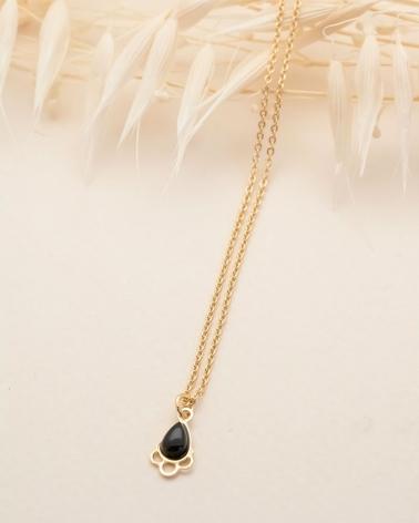 Collier petite pierre Junon - Agate Noire