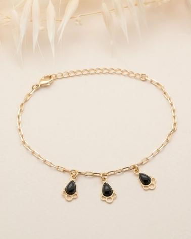Bracelet chaîne Junon - Agate Noire