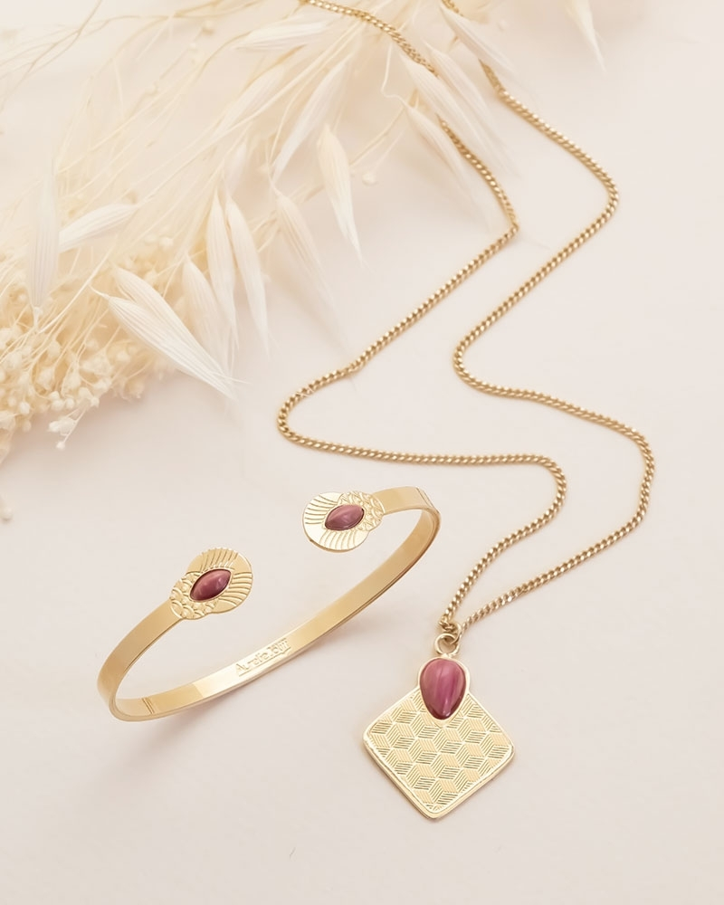 Coffret Collier Sienna et Jonc Honolulu en Rhodonite