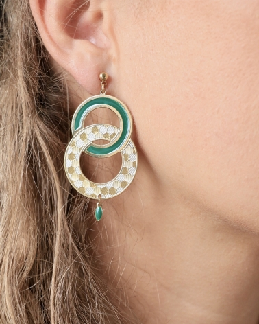 Grandes Boucles d'oreilles Pendantes Isadora Vert Emeraude portées