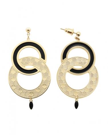 Grandes Boucles d'oreilles Pendantes Isadora Noir