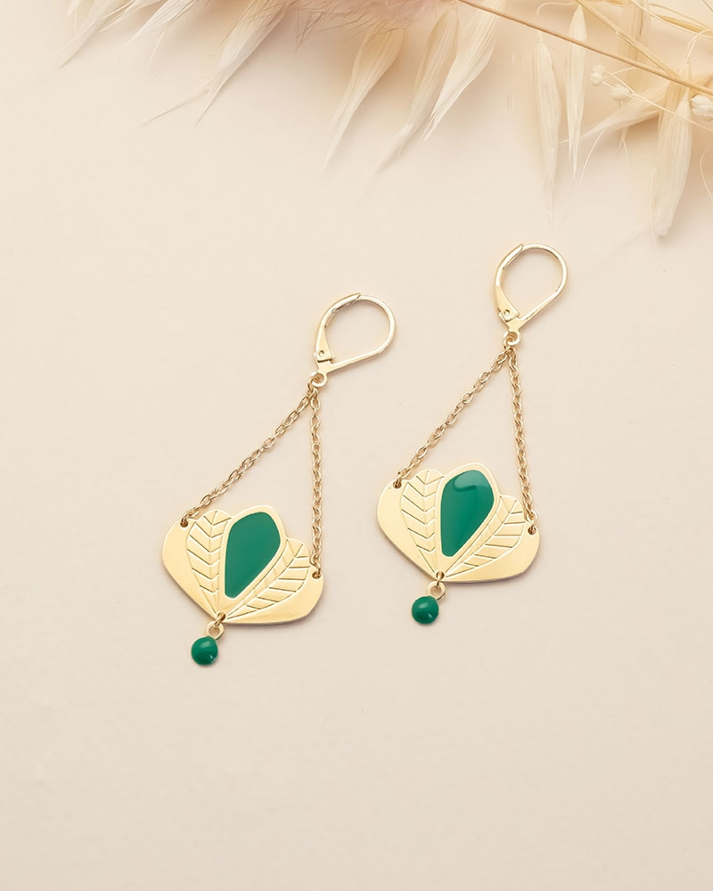 Boucles d'oreilles pendantes Chloé - Vert Émeraude