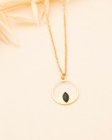 Collier Petit Cercle Alice - Agate Noire