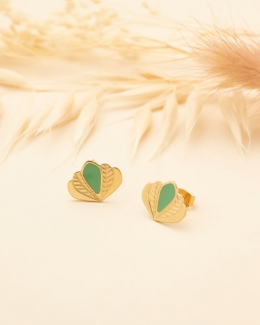 Puces d'oreilles Chloé - Vert Eucalyptus