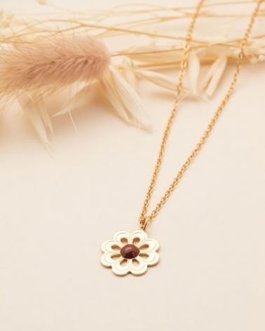 Collier Grande Fleur - Jaspe Breschia