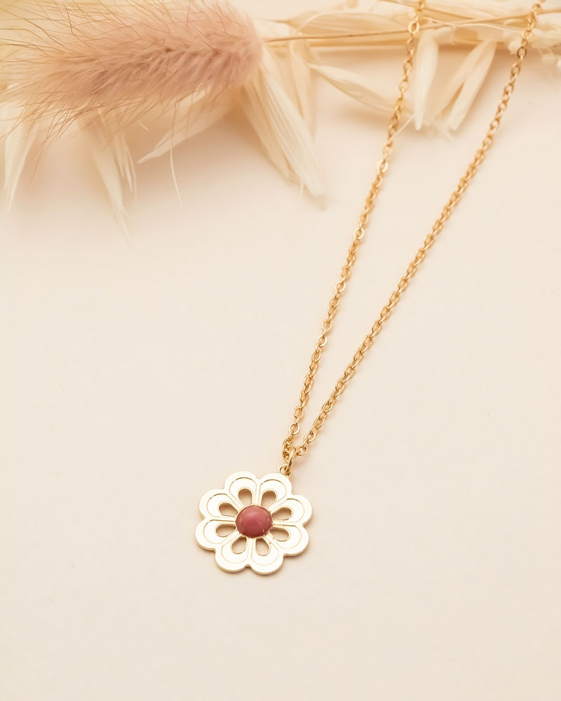 Collier Grande Fleur - Rhodonite