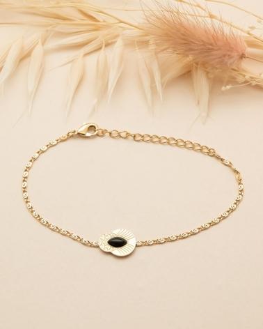 Bracelet chaîne Honolulu - Agate Noire
