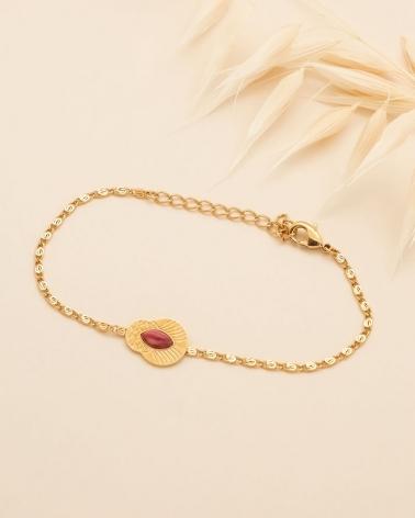 Bracelet chaîne Honolulu - Rhodonite