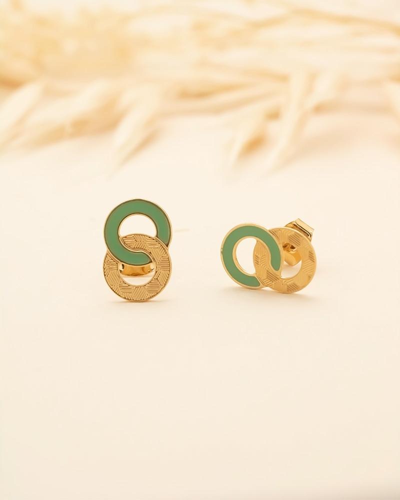 Petites Puces d'oreilles Isadora - Vert Eucalyptus