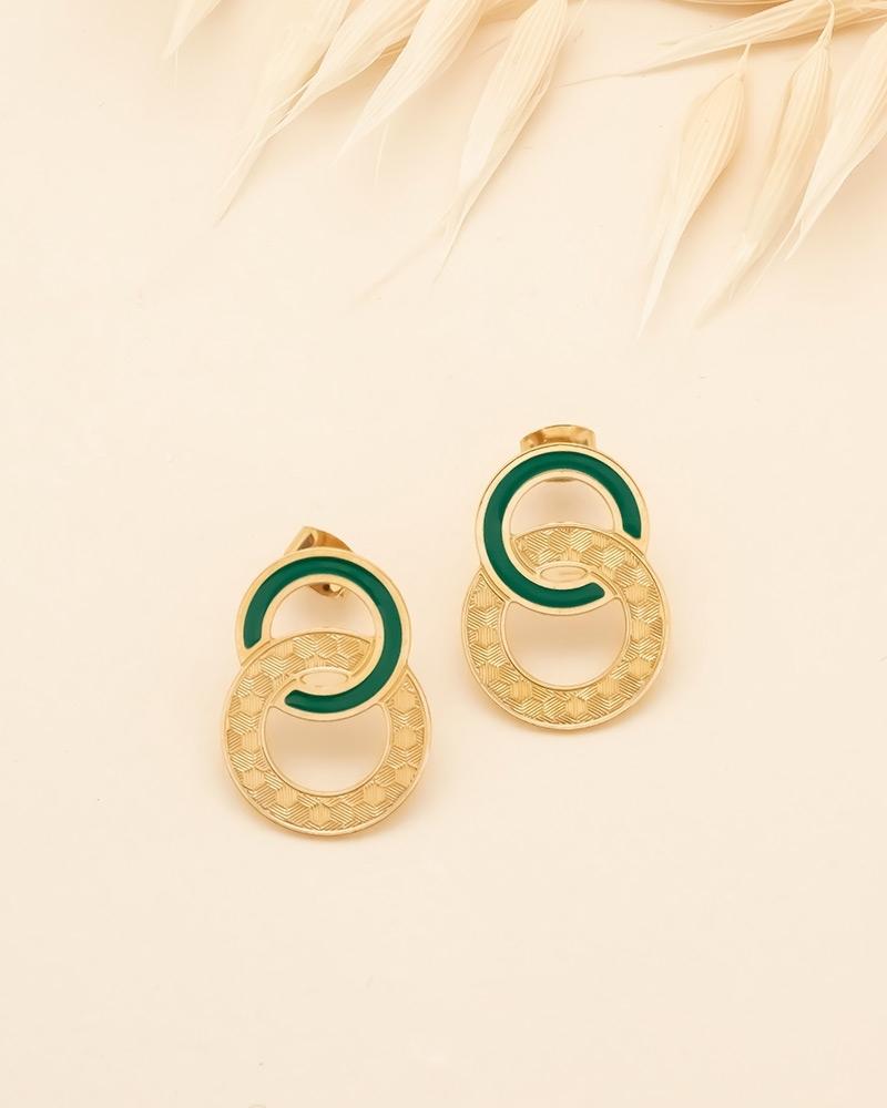 Grandes Puces d'oreilles Isadora - Vert Emeraude