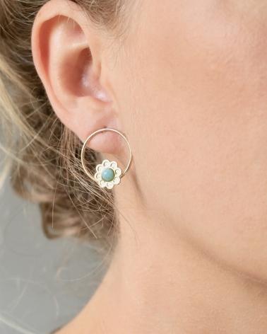 Boucles d'oreilles petit anneau Coachella en Amazonite