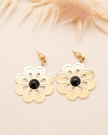 Boucles d'Oreilles Grande Fleur Coachella - Agate noire