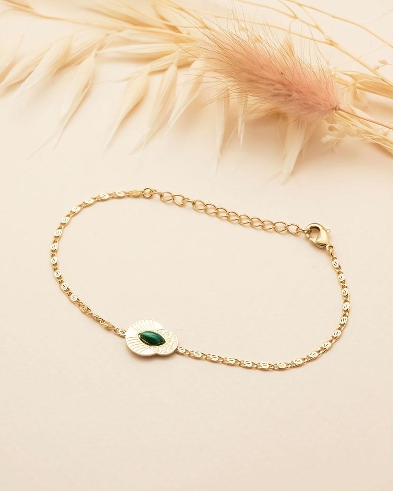 Bracelet chaîne Honolulu - Malachite