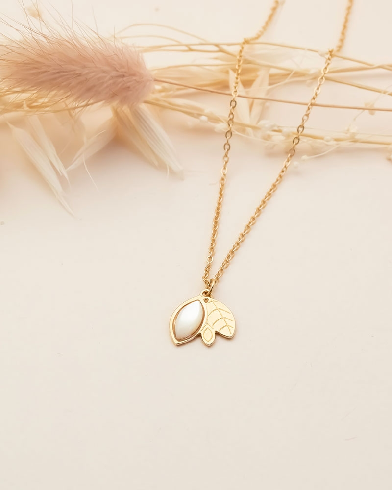 Collier feuillage Alice - Nacre