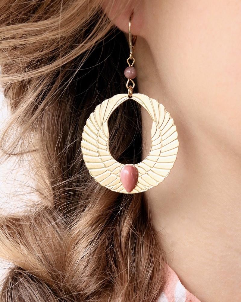Boucles d'oreilles Olympe en rhodonite