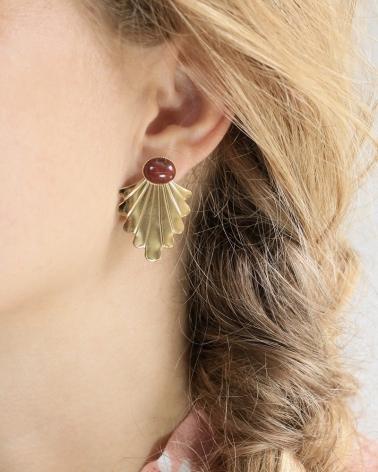 Boucles d'oreilles Telline Jaspe Africain