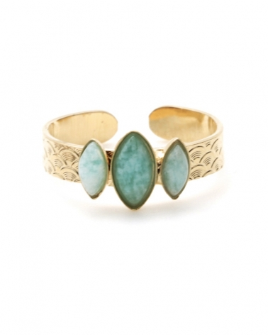 Bague 3 pierres - Honolulu en Amazonite