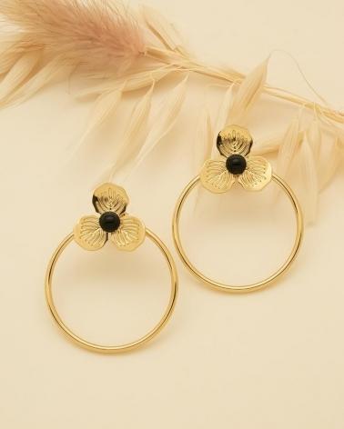 Boucles d'oreilles Cercle & Petite Fleur Primavera - Agate Noire