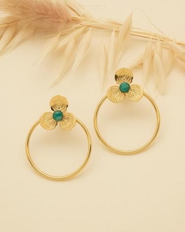 Boucles d'oreilles Cercle & Petite Fleur Primavera - Amazonite