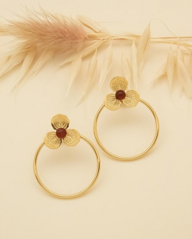 Boucles d'oreilles Cercle & Petite Fleur Primavera - Cornaline