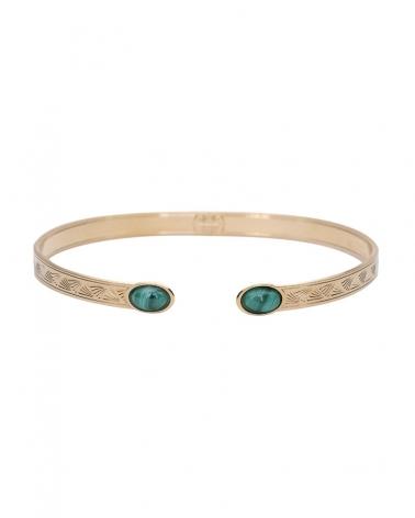 Bracelet Jonc Ovale Waikiki en Malachite