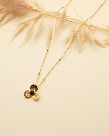 Petit Collier Primavera - Agate Noire