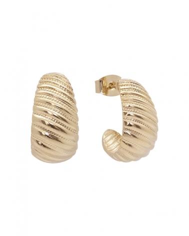 Boucles d'oreilles demi-créoles texturées et dorées