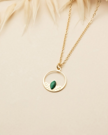 Collier Petit Cercle Alice - Malachite