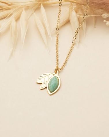 Collier feuillage Alice - Amazonite
