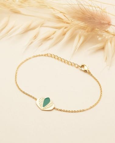 Bracelet chaine Chloé - Vert Emeraude