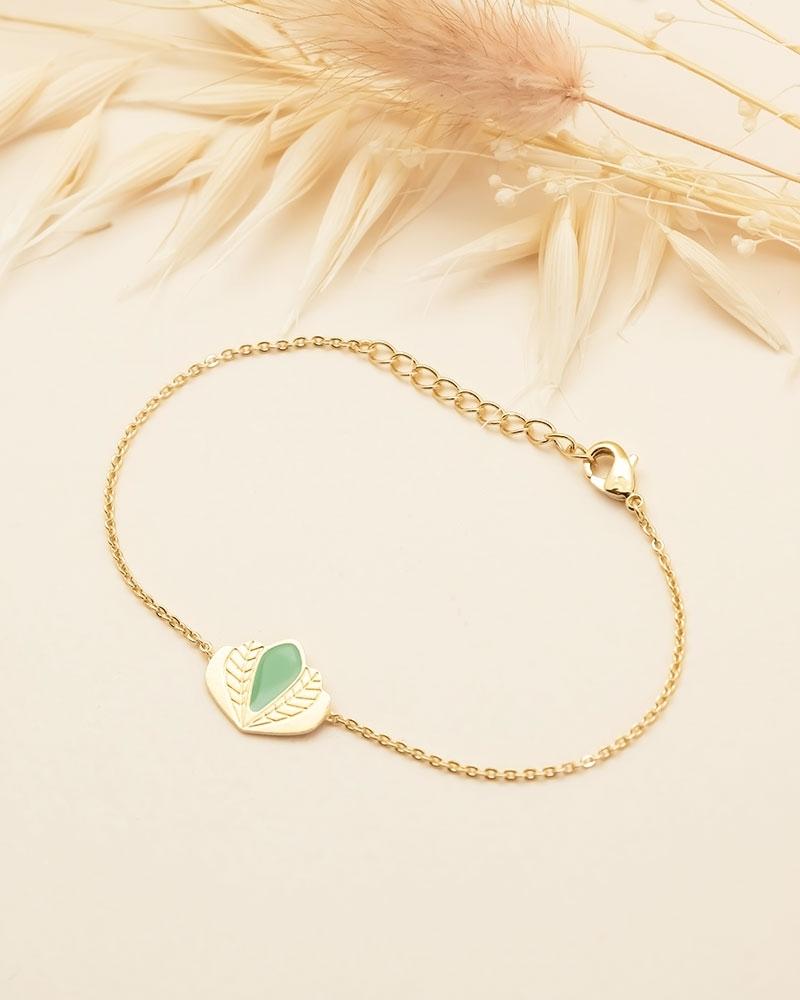 Bracelet chaine Chloé - Vert Eucalyptus