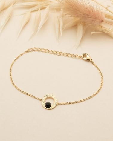 Bracelet chaîne Katniss en Agate Noire