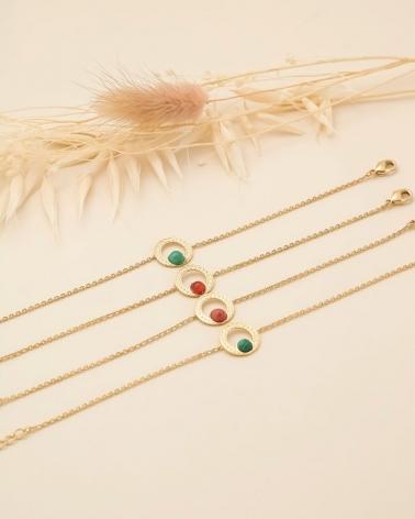 Bracelets chaîne Katniss en  Amazonite, Cornaline, Rhodonite et Malachite (en partant du haut)