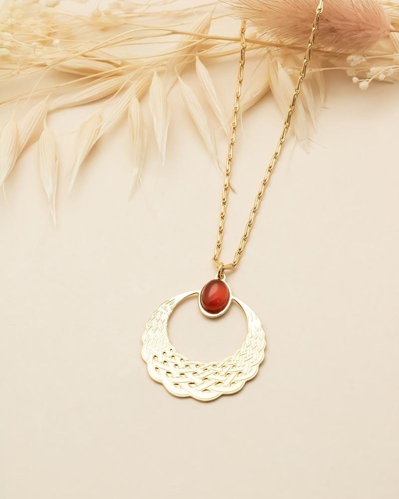 Collier pierre ovale Katniss - Cornaline