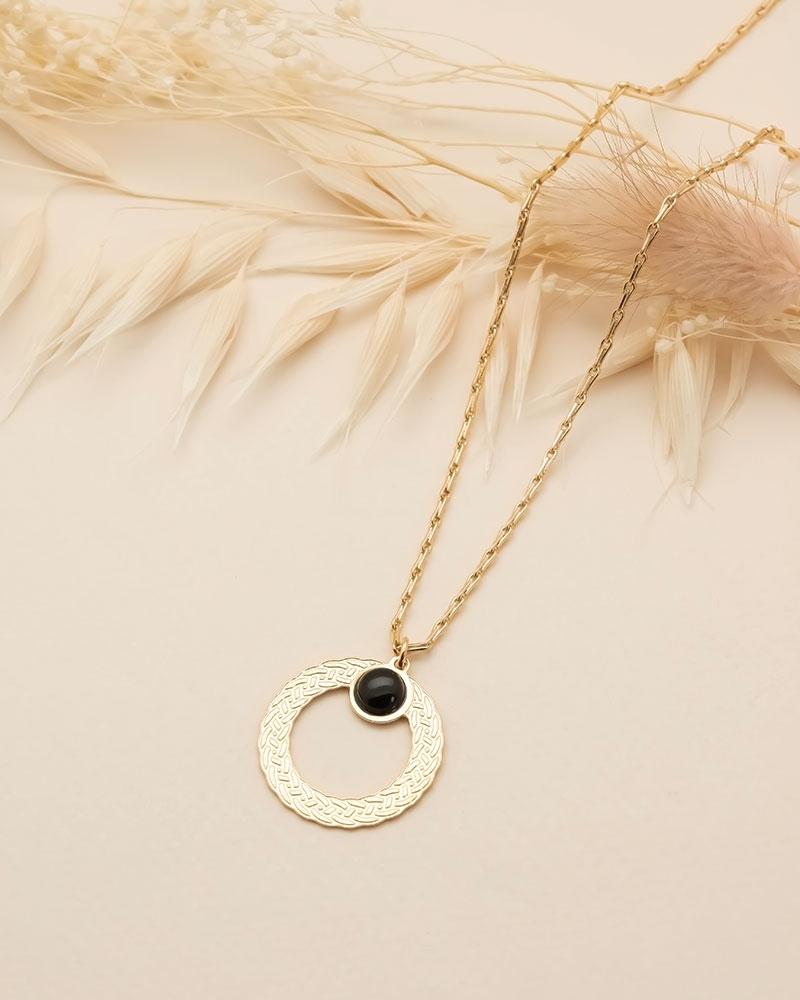 Collier pierre ronde Katniss - Agate Noire