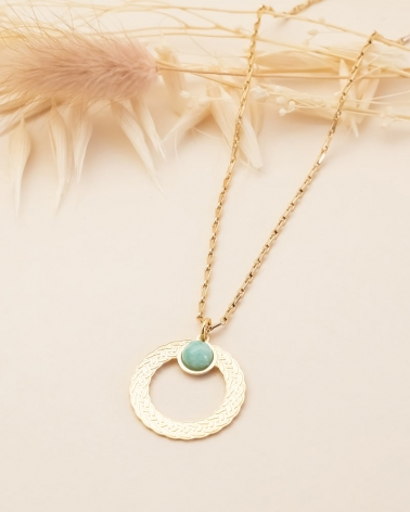 Collier pierre ronde Katniss - Amazonite
