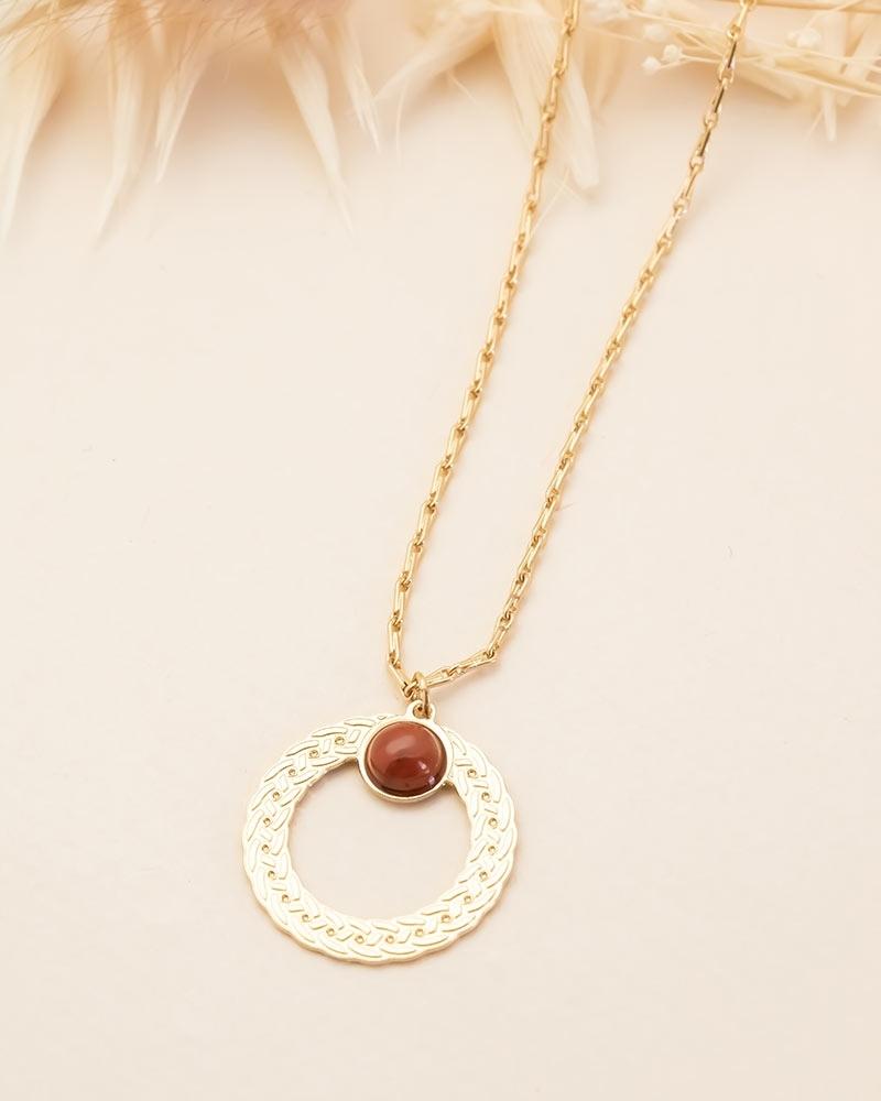 Collier pierre ronde Katniss - Jaspe Breschia