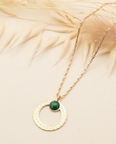 Collier pierre ronde Katniss - Malachite
