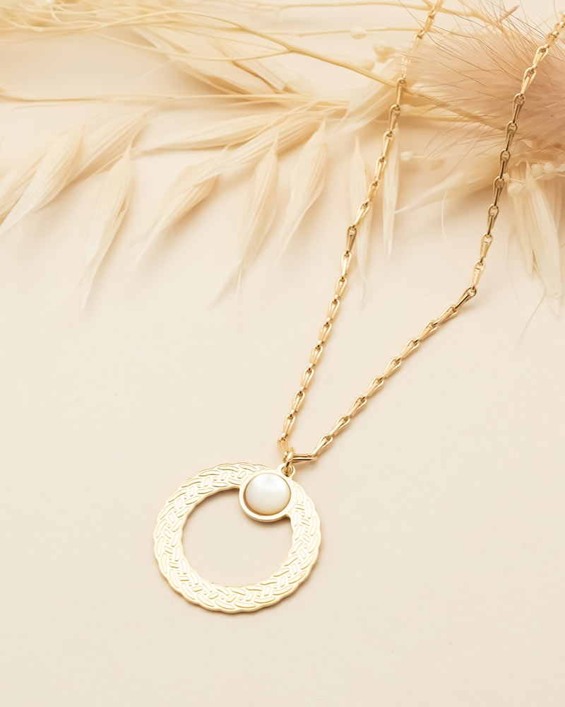 Collier pierre ronde Katniss - Nacre