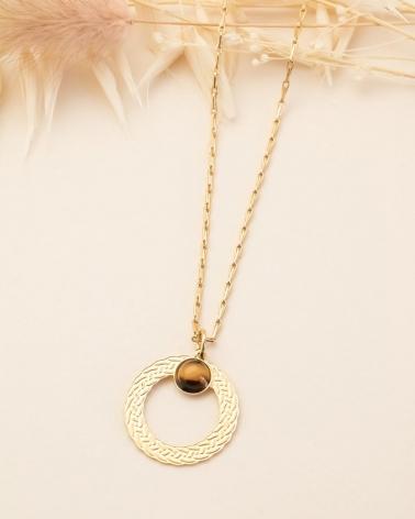 Collier pierre ronde Katniss - Oeil de Tigre