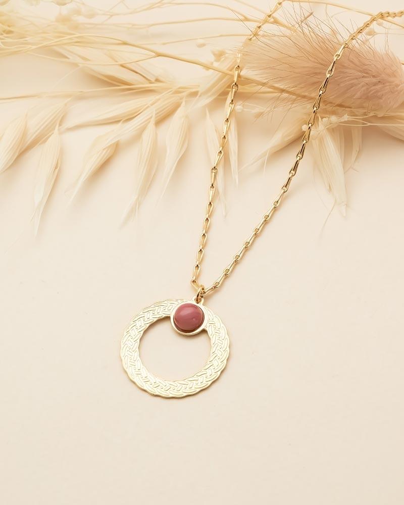 Collier pierre ronde Katniss - Rhodonite