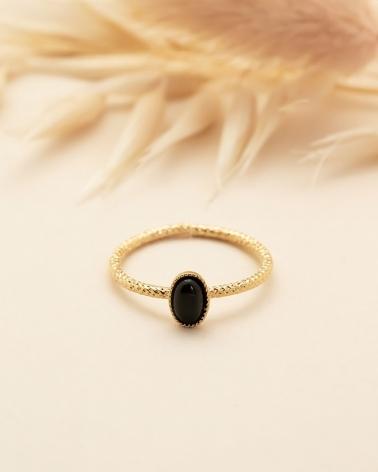 Bague fine ovale Lili - Agate Noire