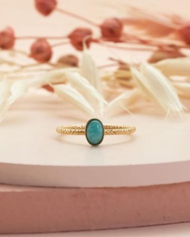Bague fine ovale Lili - Amazonite