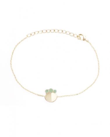 Bracelet chaine Coquillage - Jack en Vert Eucalyptus