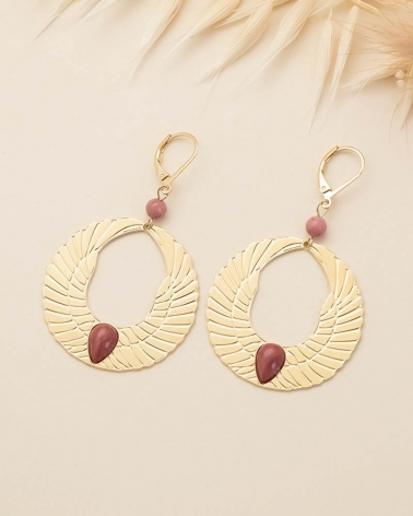 Boucles d'oreilles Olympe - Rhodonite
