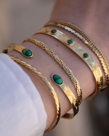 Bracelet jonc ovale Waikiki en Malachite (accompagné du jonc Blossom et du bracelet chaîne Rhéa)