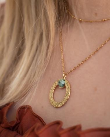 Collier pierre ronde Katniss en Jaspe Africain