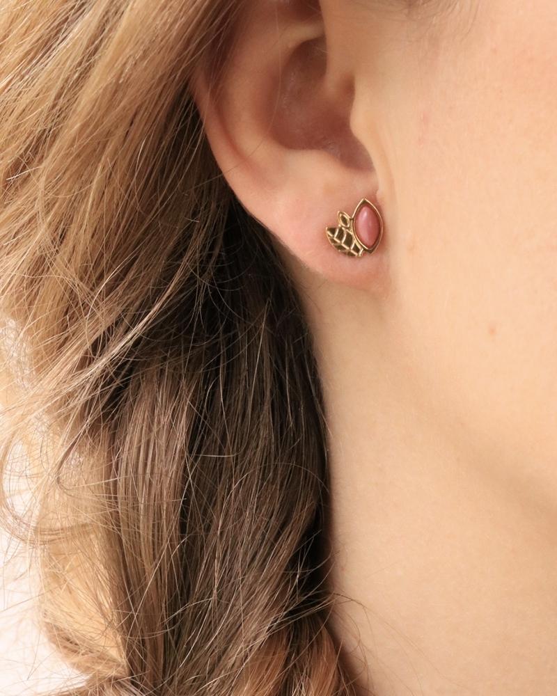 Boucles d'oreilles puces Alice en rhodonite