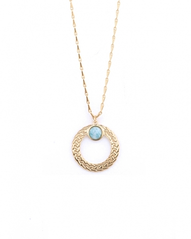 Collier Katniss pierre ronde amazonite
