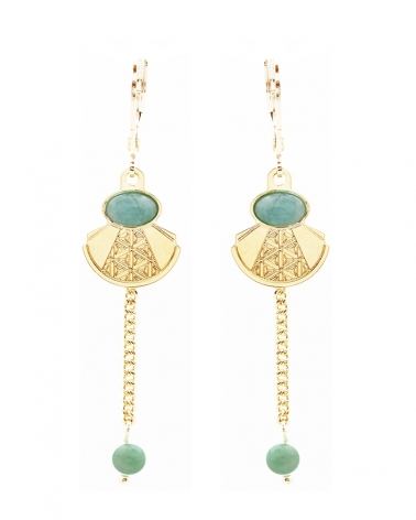 Boucles d'oreilles pampile manhattan en Amazonite